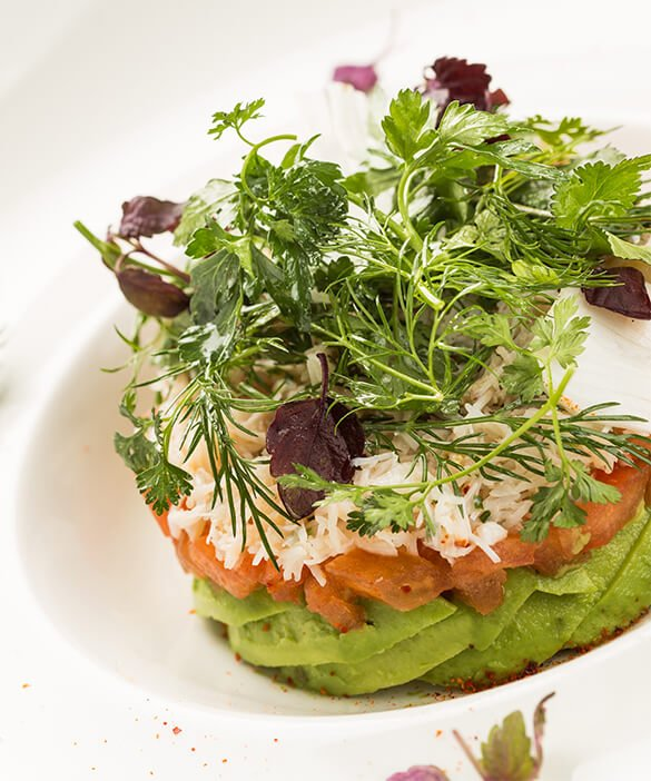 Recipe for avocado and tomato crab meat